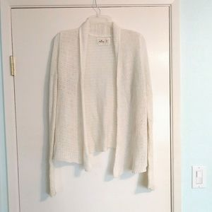 Hollister White Soft Knit Open Front Cardigan